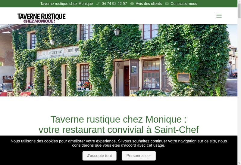 Capture d'écran du site de Chez Monique - Taverne Rustique