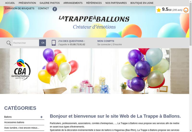 Site internet de La Trappe a Ballons - les Bijoux d'Analyne