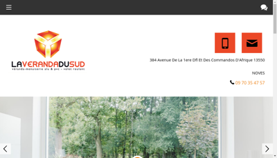 Capture d'écran du site de La Veranda du Sud