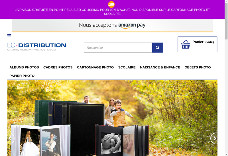 Capture d'écran du site de LC Distribution