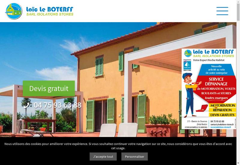 Capture d'écran du site de Isolation Stores le Boterff