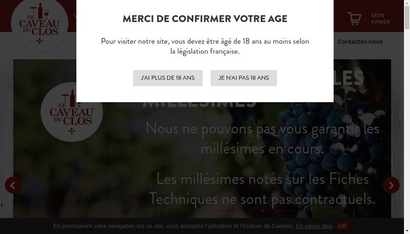 Capture d'écran du site de Le Caveau du Clos