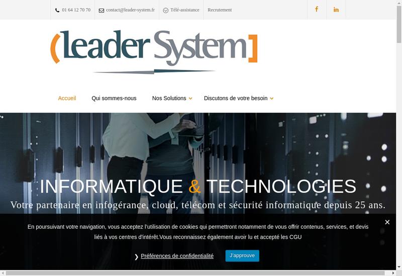 Capture d'écran du site de Leader System