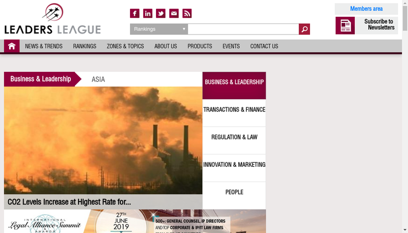 Capture d'écran du site de Leaders League