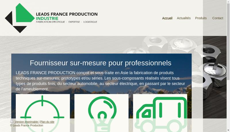 Capture d'écran du site de Leads France Production
