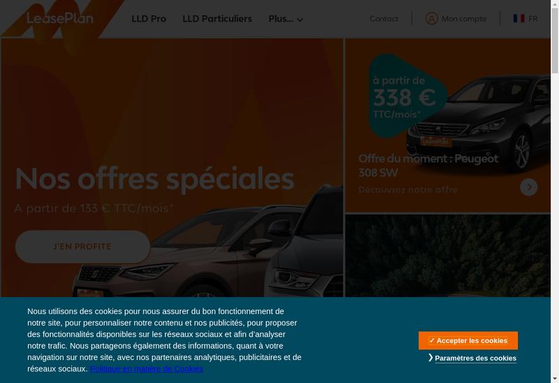Capture d'écran du site de Leaseplan France SAS