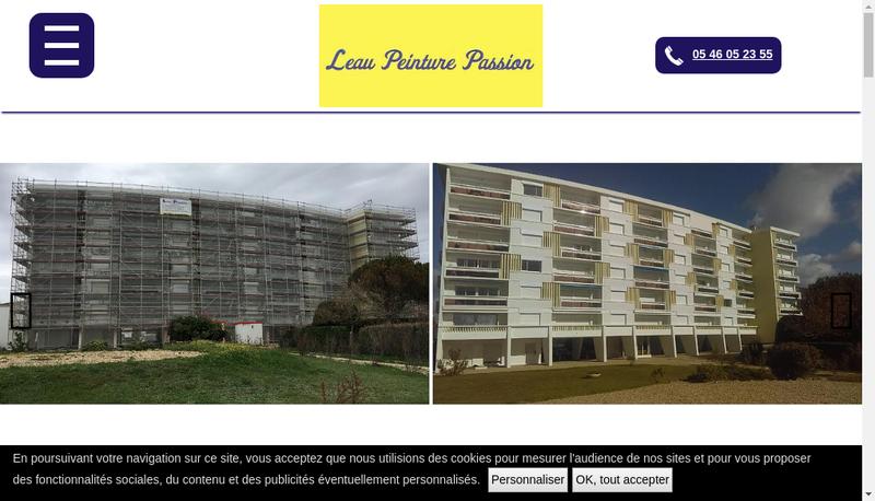 Capture d'écran du site de Leau Peinture Passion