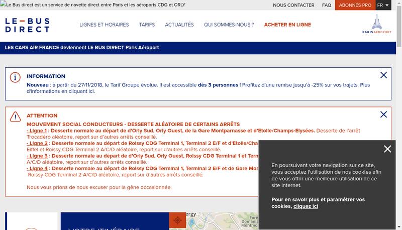 Capture d'écran du site de Aerolis
