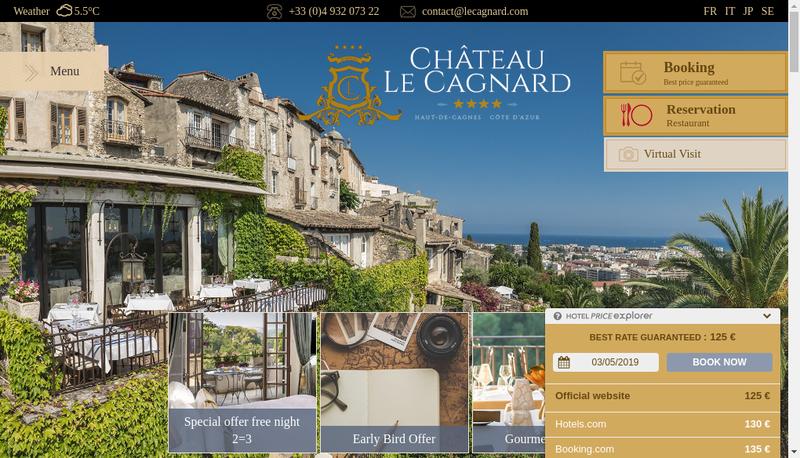 Capture d'écran du site de Le Cagnard Management