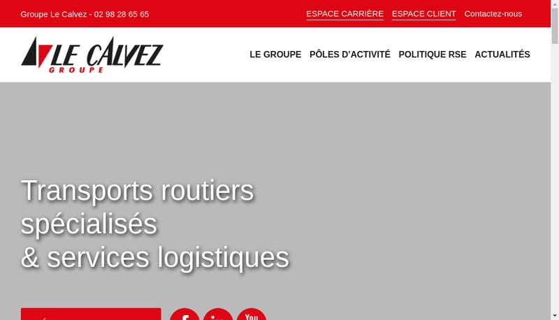 Capture d'écran du site de Le Calvez Surgeles