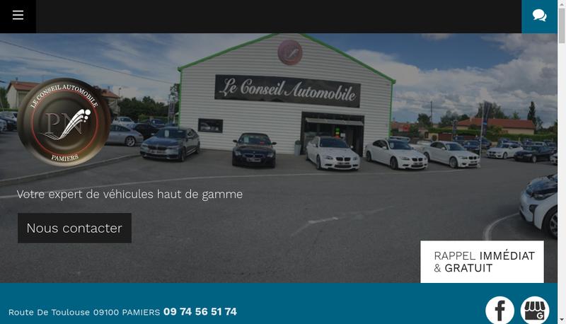 Capture d'écran du site de Pamiers Automobiles