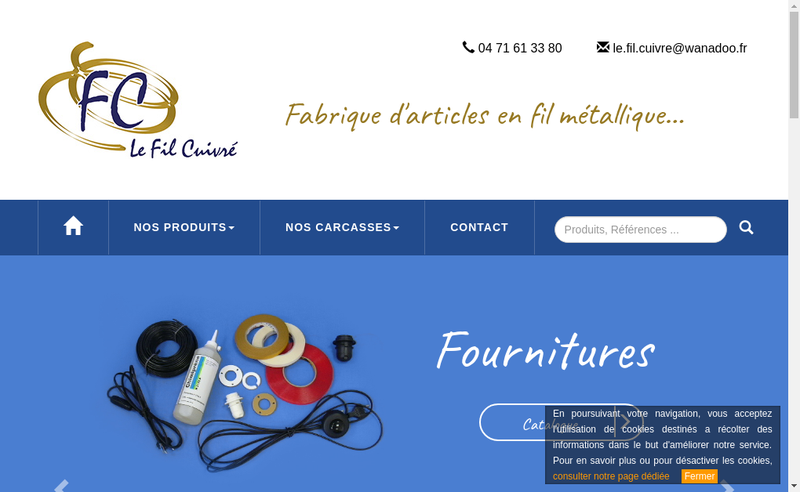 Capture d'écran du site de Le Fil Cuivre