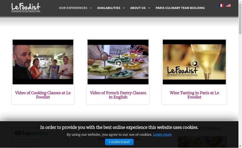 Capture d'écran du site de Le Foodist
