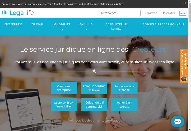 Capture d'écran du site de Legalife