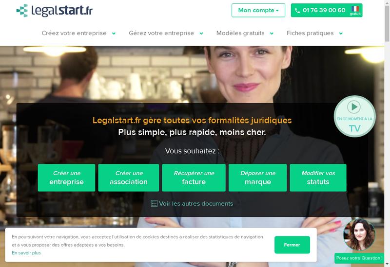 Capture d'écran du site de Legalstart.fr