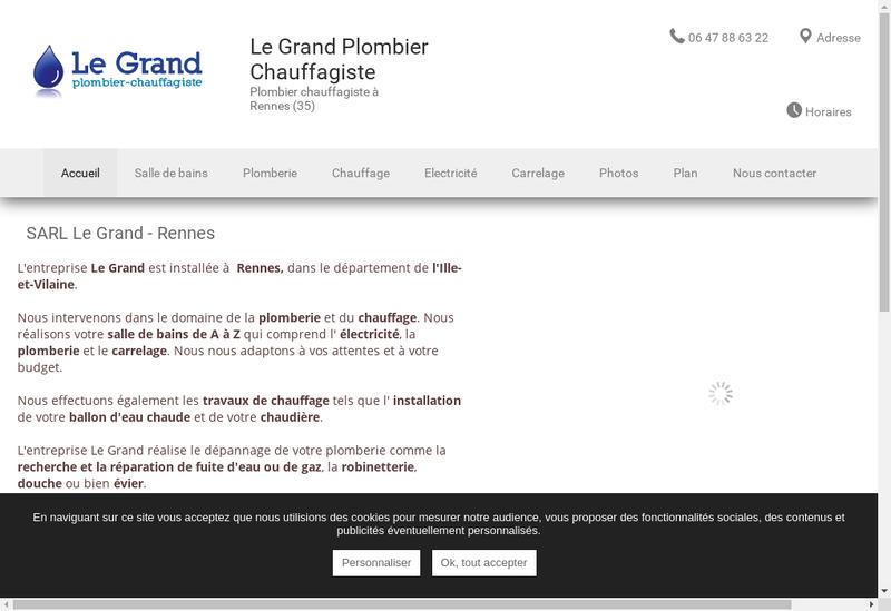 Capture d'écran du site de Le Grand Plomberie Chauffagiste
