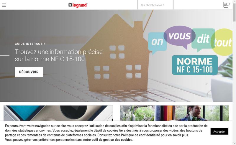 Capture d'écran du site de Legrand France