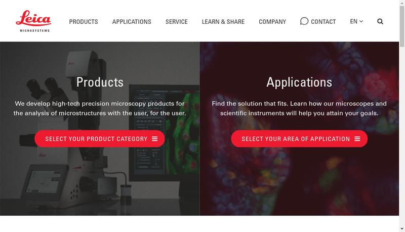 Capture d'écran du site de Leica Microsystemes