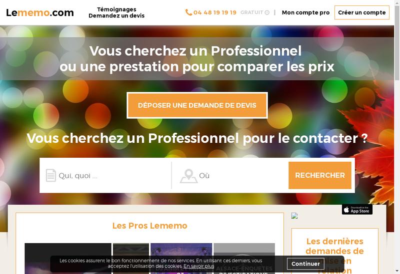 Capture d'écran du site de Lememo.com
