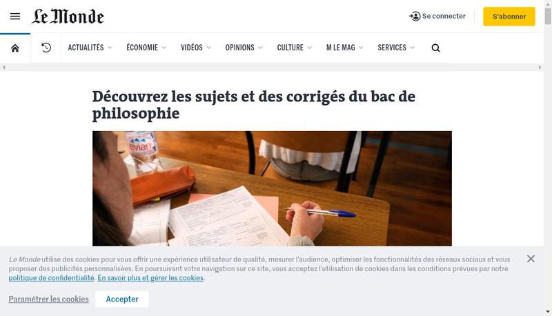 Capture d'écran du site de Le Monde