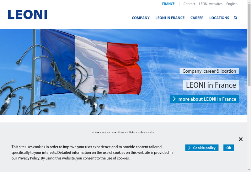 Capture d'écran du site de Leoni Cia Cable Systems