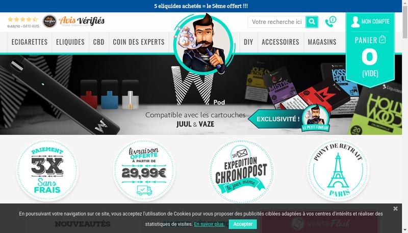 Capture d'écran du site de Le Petit Fumeur