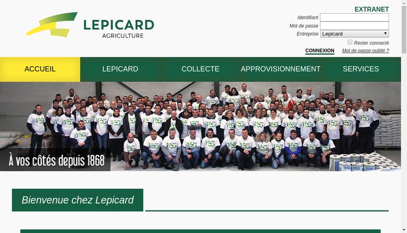 Capture d'écran du site de Etablissements Lepicard