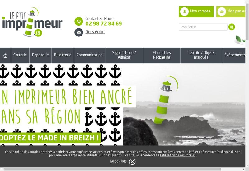 Capture d'écran du site de Le P'Tit Imprimeur Bzh
