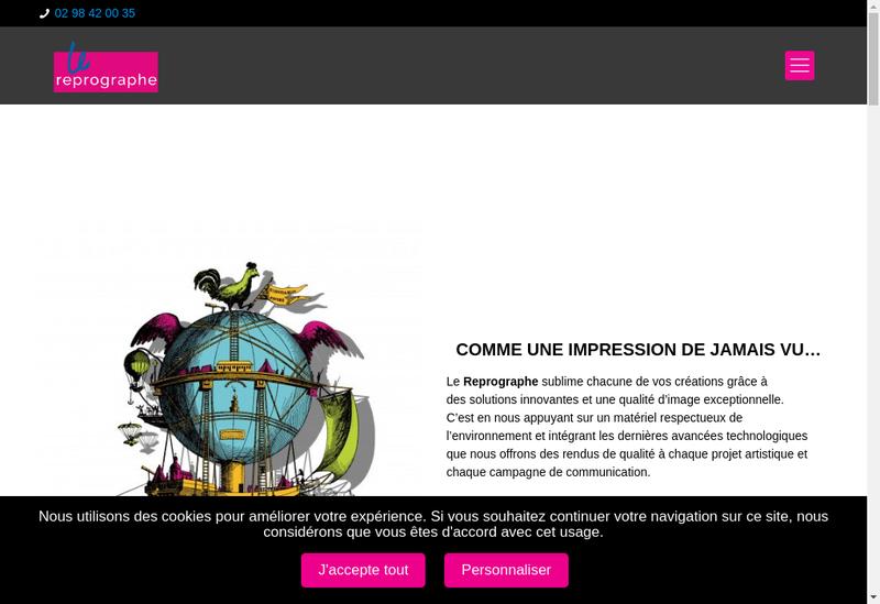 Capture d'écran du site de Le Reprographe