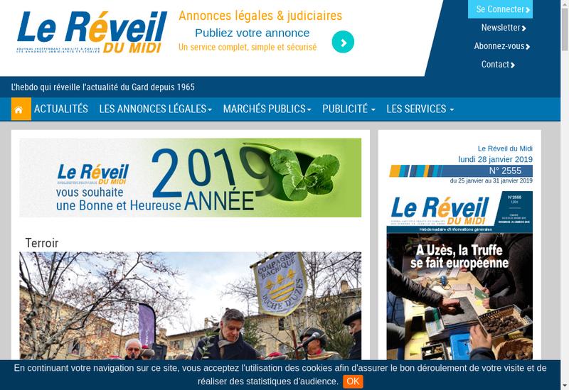 Capture d'écran du site de Le Reveil du Midi