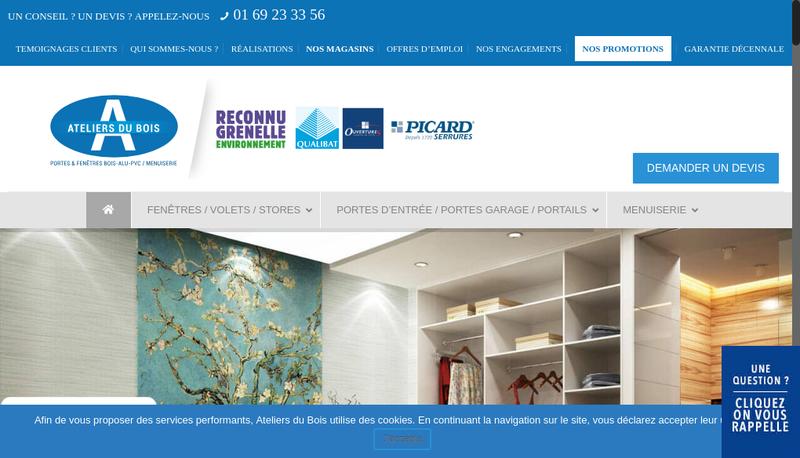 Capture d'écran du site de Ateliers du Bois