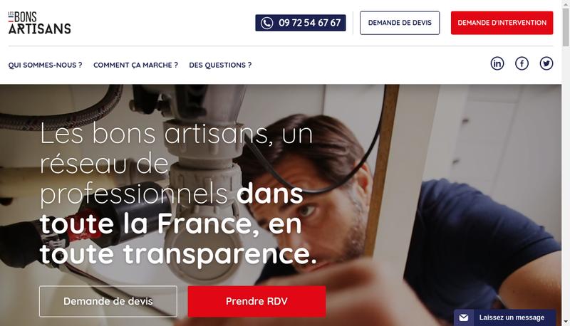 Capture d'écran du site de Les Bons Artisans