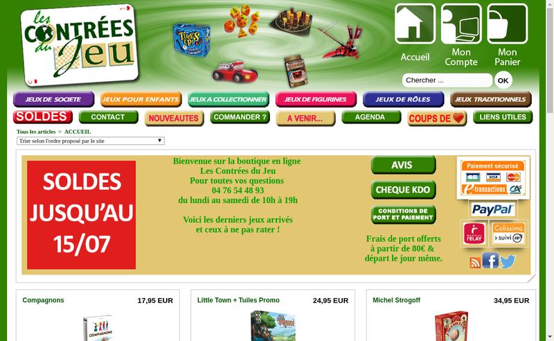 Capture d'écran du site de Les Contrees du Jeu