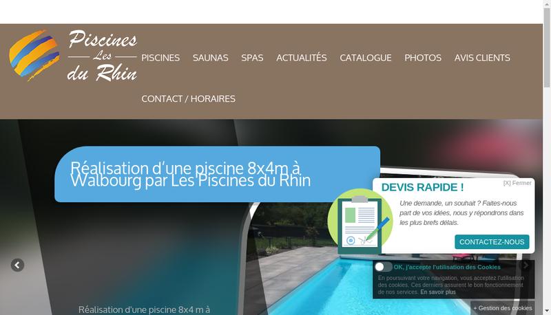 Capture d'écran du site de Les Piscines du Rhin