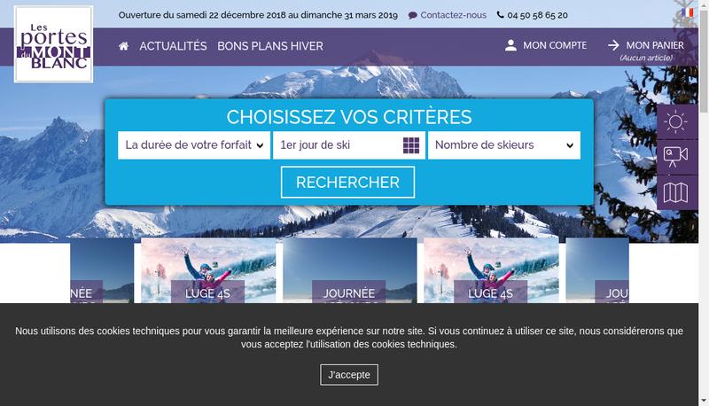 Capture d'écran du site de Les Portes du Mont Blanc
