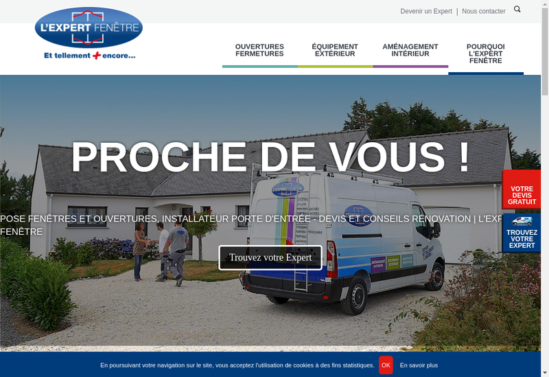 Capture d'écran du site de L'Expert Fenetre