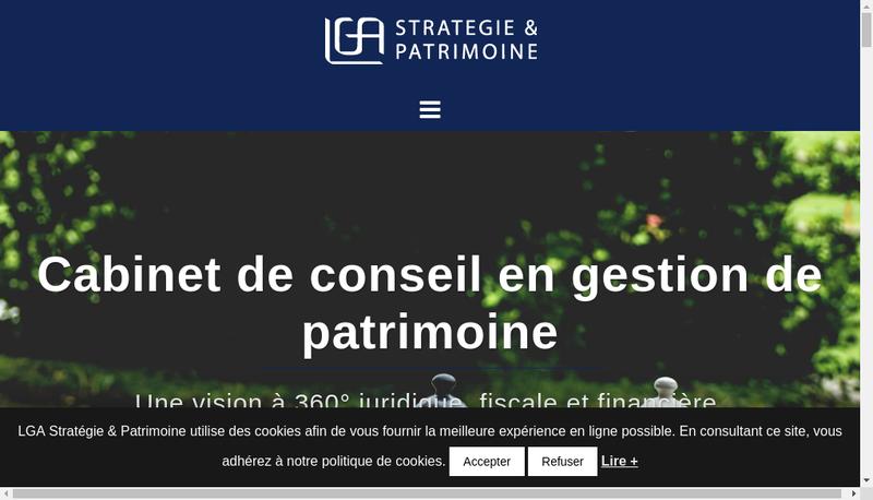 Capture d'écran du site de Lga Strategie &Patrimoine