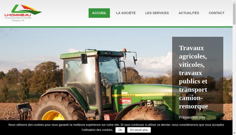 Capture d'écran du site de SARL Lhommeau