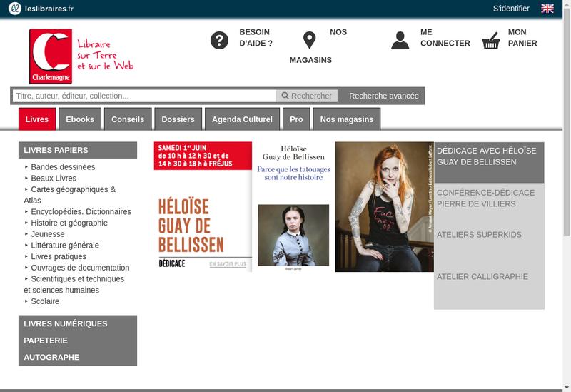 Capture d'écran du site de Charlemagne Librairie