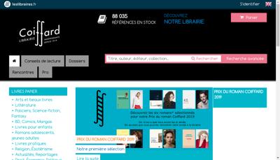 Capture d'écran du site de Librairie Coiffard