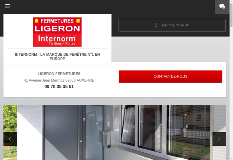 Capture d'écran du site de Ligeron Fermetures