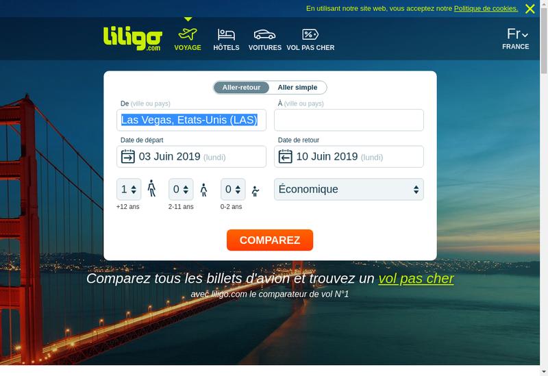 Capture d'écran du site de Liligo, Voyager Moins Cher, Voyager Pa