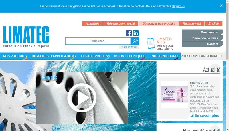 Capture d'écran du site de Limatec