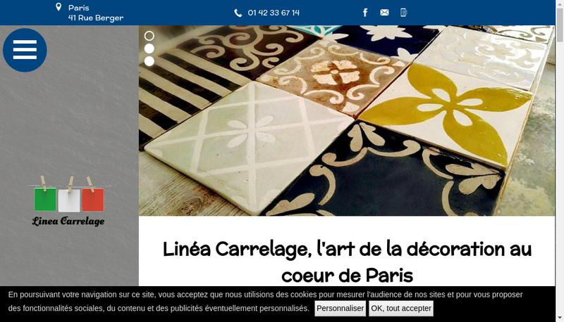 Capture d'écran du site de Linea Carrelage