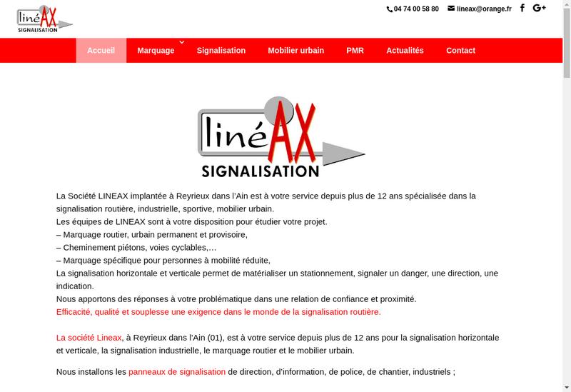 Capture d'écran du site de Lineax