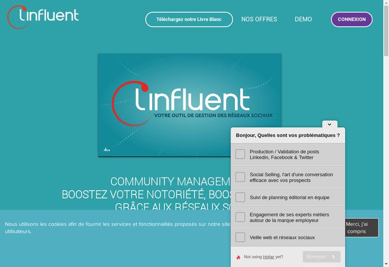 Capture d'écran du site de Linfluent