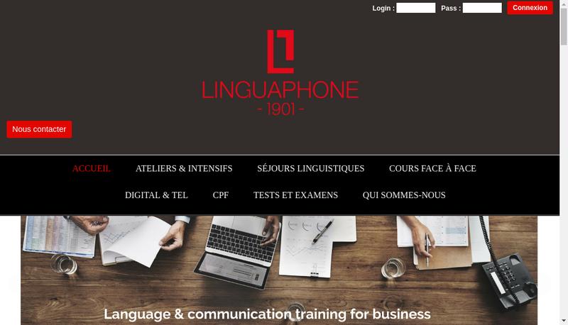 Capture d'écran du site de Linguaphone