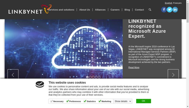 Capture d'écran du site de Link By Net