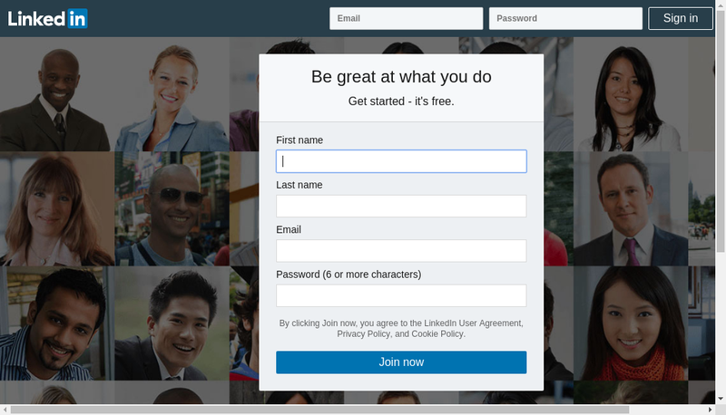 Capture d'écran du site de Linkedin