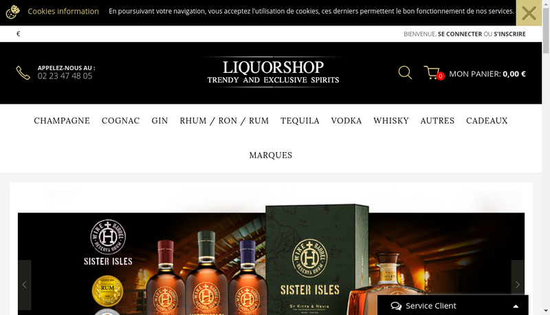 Capture d'écran du site de Liquor Shop